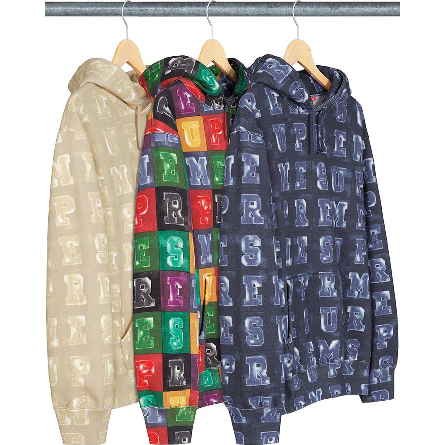 Blocks Hooded Sweatshirt - Cotton fleece with pouch pocket and printed logo pattern.