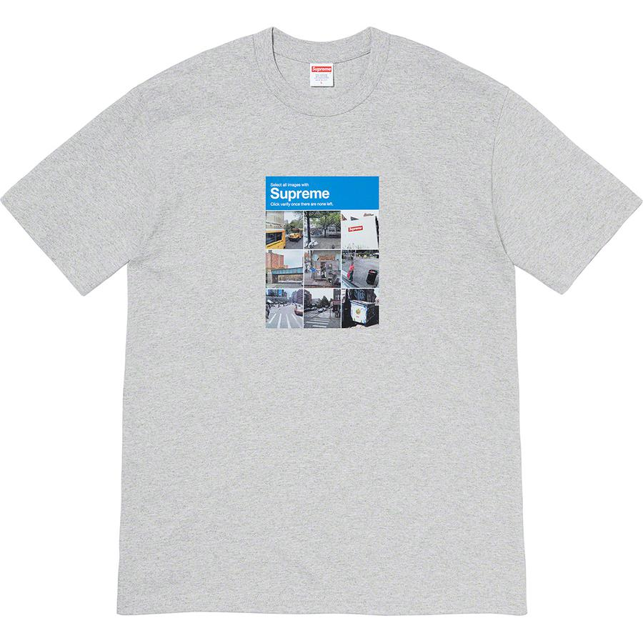 Verify Tee - All cotton classic Supreme t-shirt with printed graphic on front.