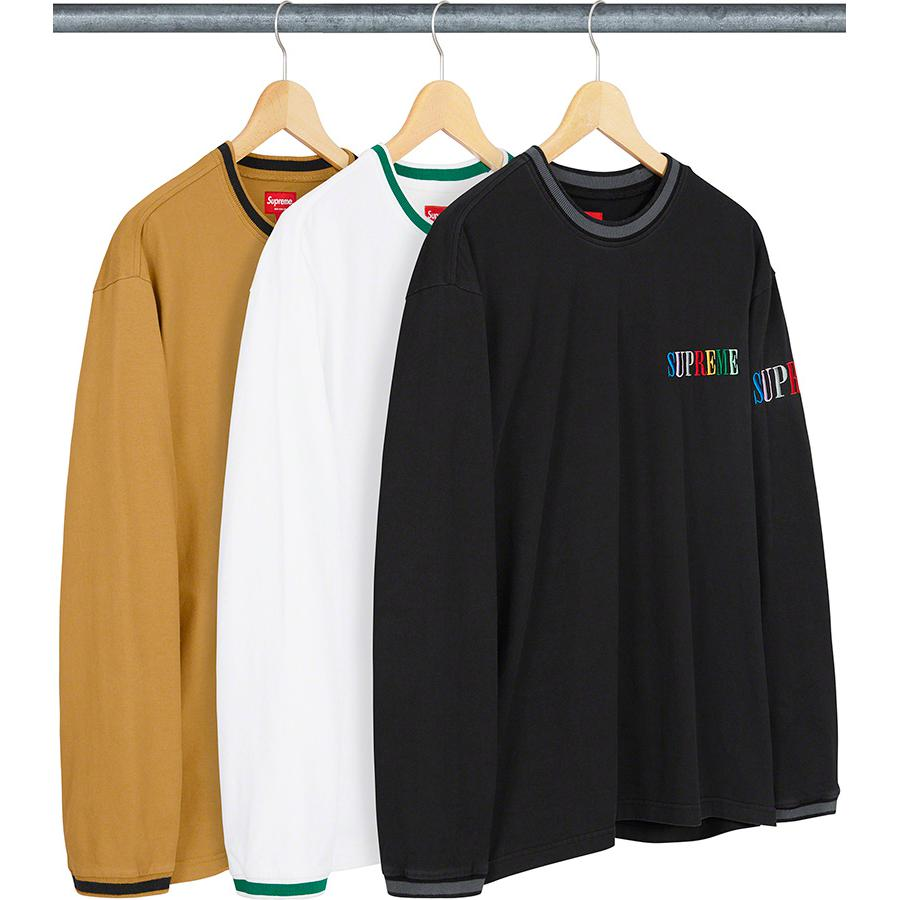 Multi Color Logo L/S Top - All cotton jersey crewneck with stripe rib collar and cuffs. Embroidered logos on chest and sleeve.