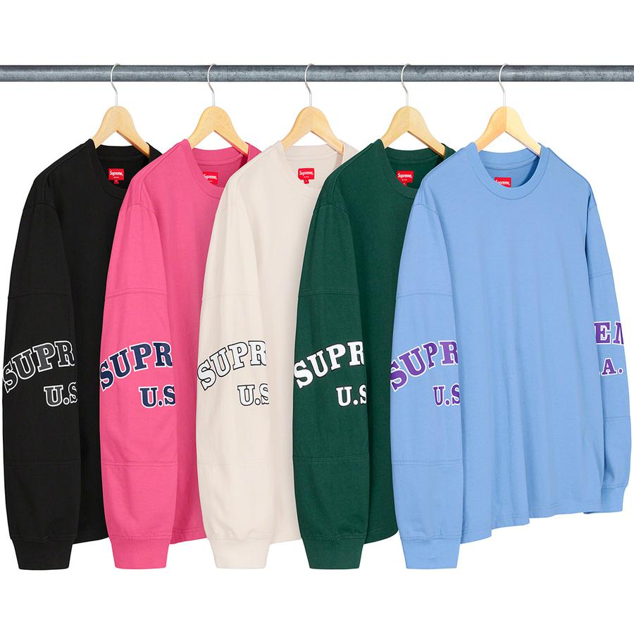 Cutout Sleeves L/S Top - All cotton jersey crewneck with cutout panels and printed logos at sleeves.