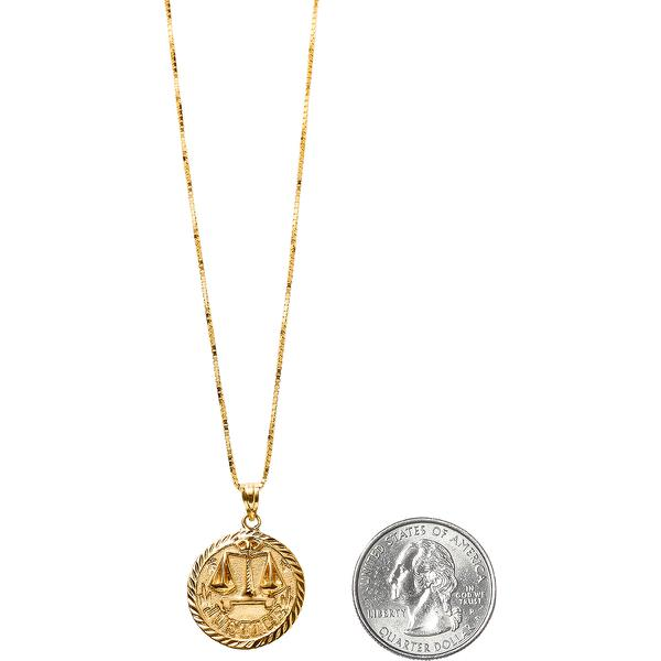 "Justice Gold Pendant - 14K gold diamond cut and embossed pendant with 24"" box chain ."