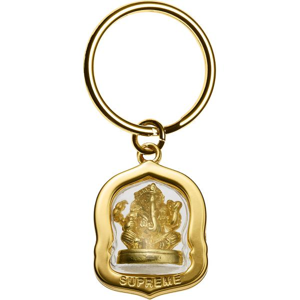 "Ganesh Keychain - Molded metal and plastic keychain with debossed logo and 1"" keyring."