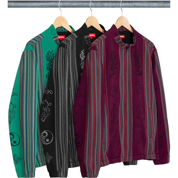 Woven Striped Batik Jacket - Woven striped cotton with printed graphics and full zip closure. Hand pockets at lower front and embroidered logo on chest.