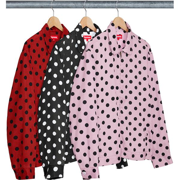 Polka Dots Rayon Work Jacket - Rayon twill with full zip closure. Welt hand pockets at lower front and interior chest pocket. Elastic back waistband and two-button adjustable cuff.