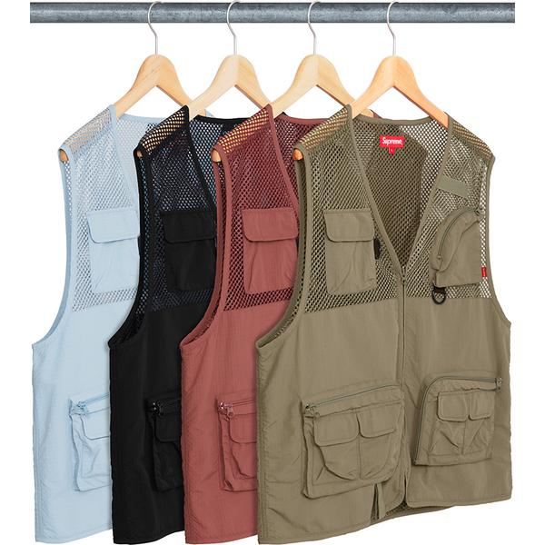 Mesh Cargo Vest - Nylon mesh and ripstop with full zip closure. Utility pockets on chest and lower front with zip pockets at back. Printed logo on lower back.