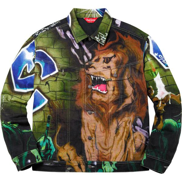 Lion's Den Denim Trucker Jacket - All cotton 13 oz. denim with printed pattern and button front closure. Hand pockets at lower front and chest pockets with button closures. <br><br>Original artwork by Lee Quinones.</b>