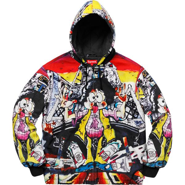 The Yard Hooded Work Jacket - All cotton canvas with printed pattern and quilted cotton lining. Full zip closure with hand pockets at lower front. <br><br>Original artwork by Lee Quinones.</b>