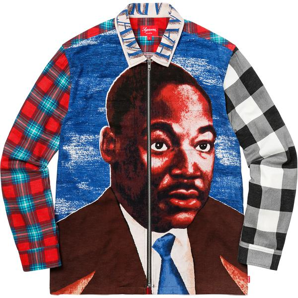 MLK Zip Up Flannel Shirt - All cotton flannel with printed graphic, full zip closure and single chest pocket. <br><br> ©2018 Estate of Martin Luther King, Jr.