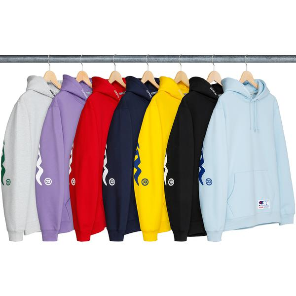 Supreme®/Champion® Hooded Sweatshirt - All cotton fleece with pouch pocket. Printed logo across back with embroidered logo on hood and athletic label on lower front. Made exclusively for Supreme.