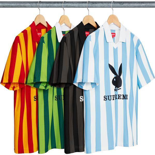 Supreme®/Playboy© Soccer Jersey - Poly jacquard with set in rib collar and v-neck opening. Printed graphic on front and back.