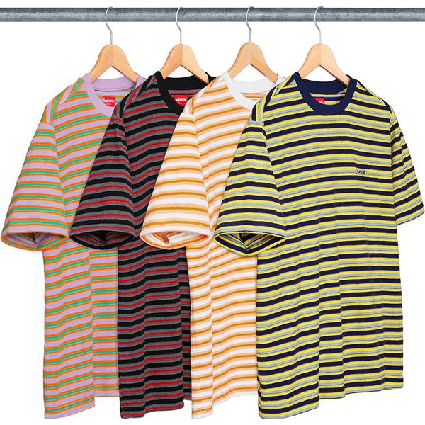 Multi Stripe Terry Tee - All cotton terry crewneck with embroidered logo on chest.