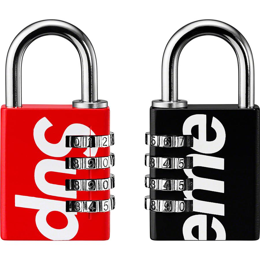 "Supreme®/Master Lock® Numeric Combination Lock - Metal with nickel plated steel shackle and four-dial combination. Printed logo on front and back. 1.625"" x 3.25""."