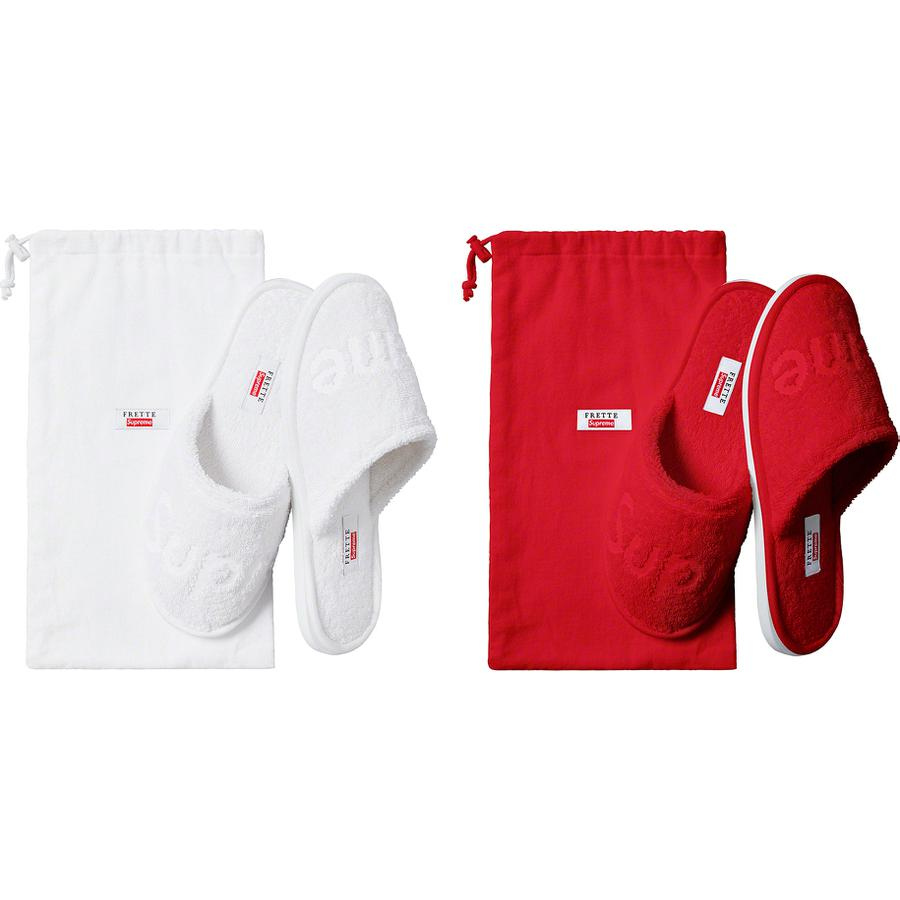 Supreme®/Frette® Slippers - Cotton terry with rubber sole and debossed logo. Dust bag included.