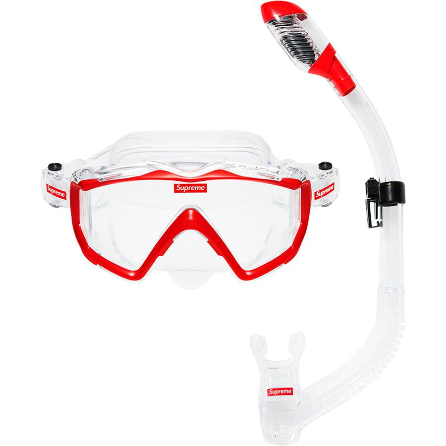 Supreme®/Cressi Snorkel Set - Hypoallergenic silicone mask and snorkel. Mask features tempered glass lenses with printed logos on front and sides. Snorkel features splash guard and top valve with printed logos on side and mouthpiece. Made exclusively for Supreme.