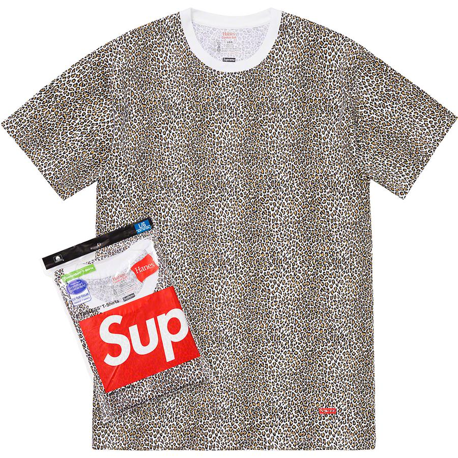 Supreme®/Hanes® Leopard Tagless Tees (2 Pack) - All cotton classic Hanes® crewneck tee with leopard print. Stamped logo on lower front.