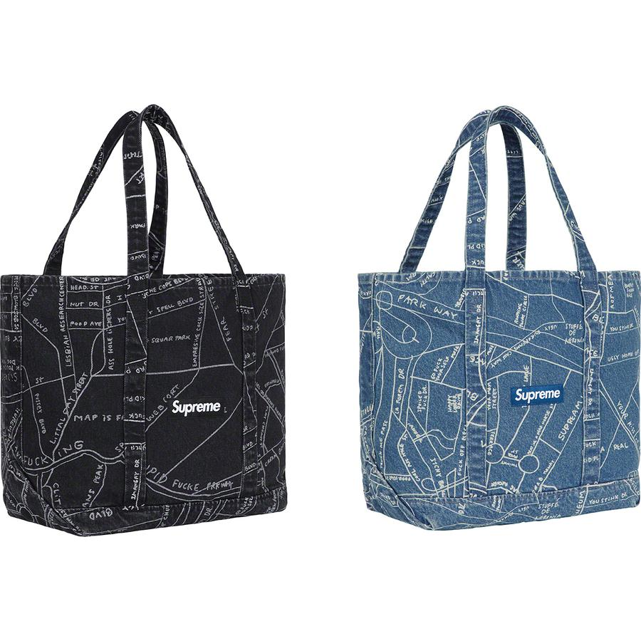 Gonz Map Denim Tote - All cotton 14oz. denim with discharge printed pattern and back pocket. Original artwork by Mark Gonzales. 24L.