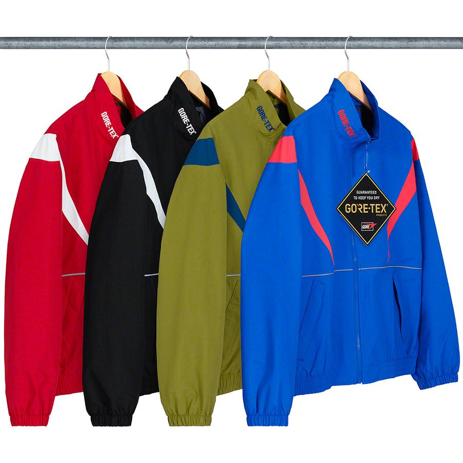 GORE-TEX Court Jacket - Waterproof, breathable GORE-TEX nylon with embossed logo lining and full zip closure. Zip hand pockets at lower front and interior chest pocket with elastic cuffs and hem. Contrast shoulder panels, embroidered logos on collar and 3M® Reflective piping.