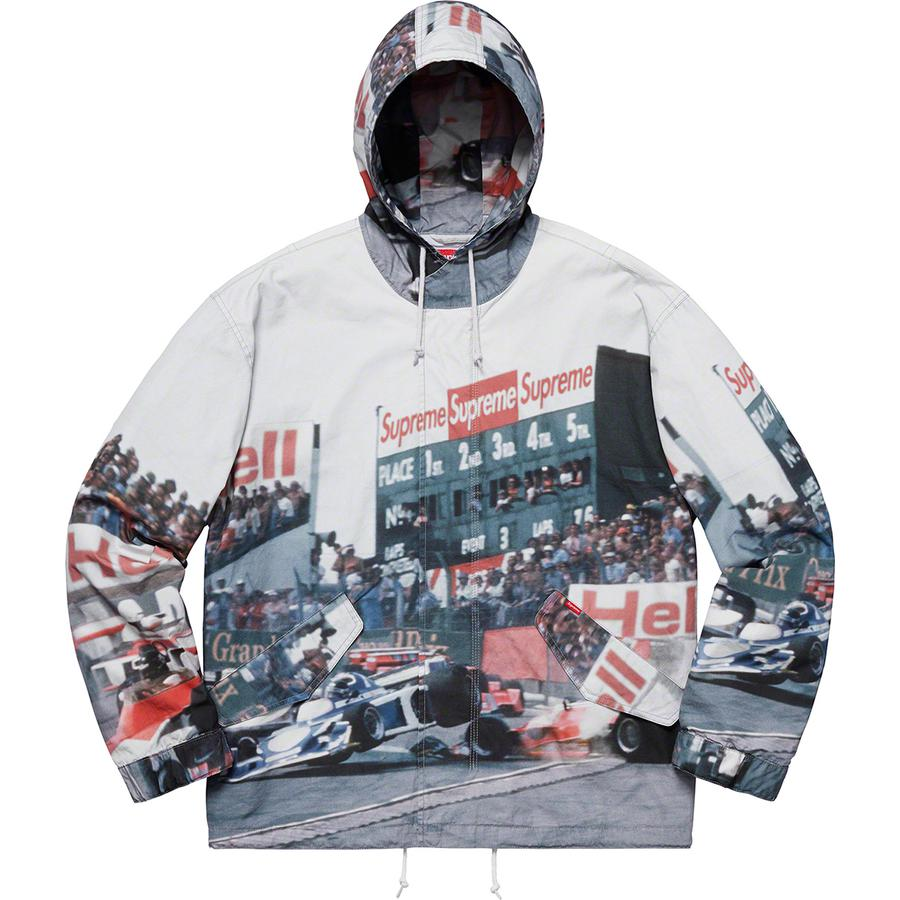 Grand Prix Parka - All cotton with printed graphic and cotton lining. Full zip closure with hidden snap placket and snap flap hand pockets at lower front. Drawcord at hood and hem with two-button tab adjusters at cuffs.