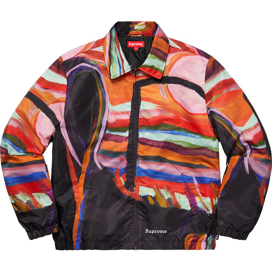 Reaper Work Jacket - High density nylon with printed graphic and quilted taffeta lining. Full zip closure with hand pockets at lower front and interior chest pocket. Elastic cuffs and hem with embroidered logo at hem. Original artwork by Josh Smith.