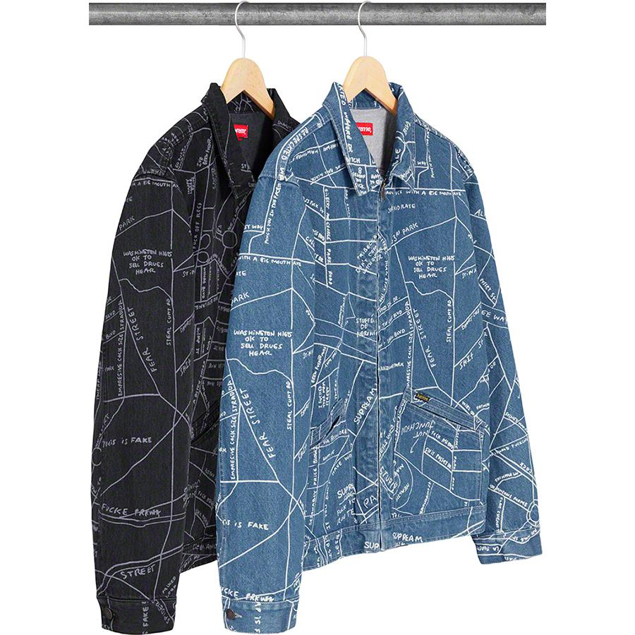 Gonz Map Work Jacket - All cotton 14oz. denim with discharge printed pattern. Full zip closure with double welt patch pockets at lower front. Button adjusters at cuff and hem. Original artwork by Mark Gonzales.