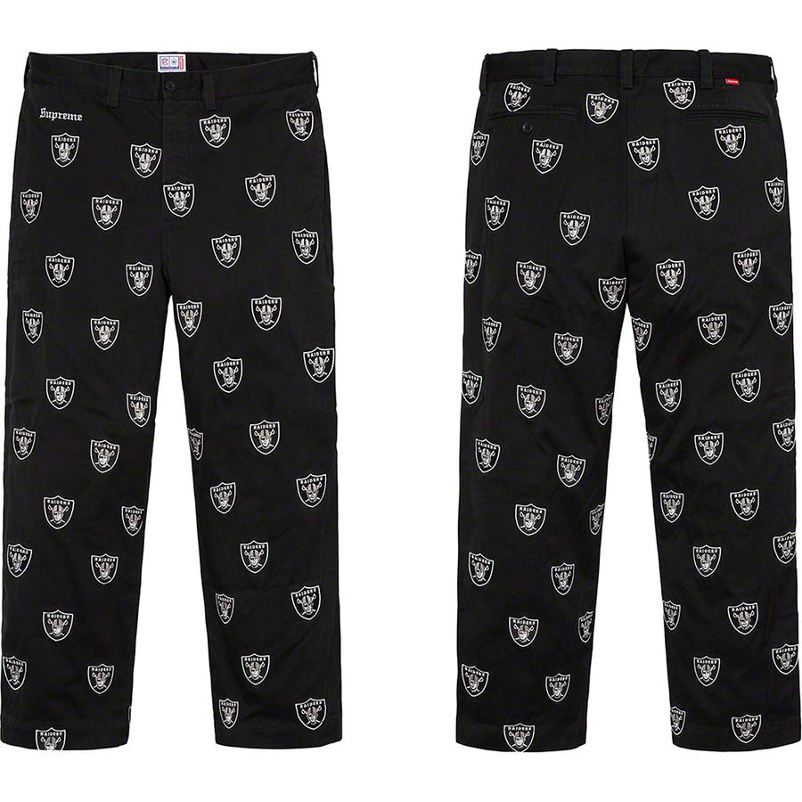 Supreme®/NFL/Raiders/'47 Embroidered Chino Pant - All cotton twill with embroidered logo pattern and enzyme wash. Relaxed fit with on seam hand pockets, welt back pockets and button fly closure. Embroidered logo at waist. Official Raiders merchandise made exclusively for Supreme.