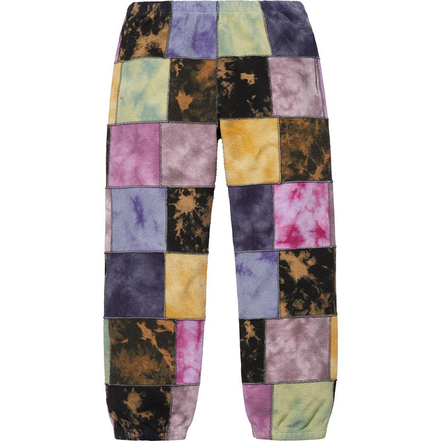 Patchwork Tie Dye Sweatpant - Cotton fleece with on seam hand pockets and single back patch pocket with embroidered logo. Elastic cuffs and waistband with interior drawcord.
