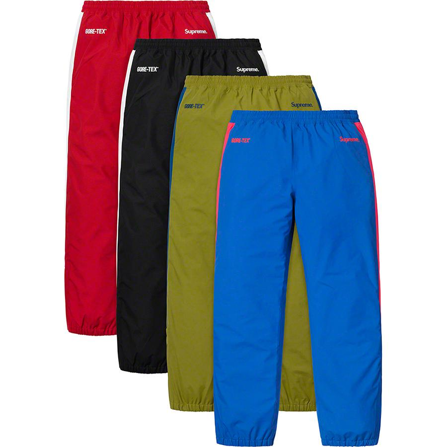 GORE-TEX Pant - Waterproof, breathable GORE-TEX nylon with embossed logo lining. Zip hand pockets and welt zip back pockets. Bottom gussets with zip closure, elastic cuffs and waistband with interior elastic shockcord. Contrast panel at sides and embroidered logos at...