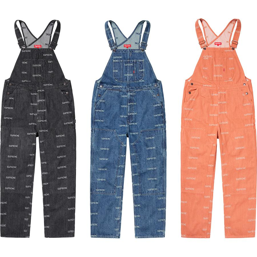 Logo Denim Overalls - All cotton 14oz. denim with jacquard logo pattern. Slanted front hand pockets and patch pockets at chest and seat. Utility style with double knee, zip fly, utility pockets and hammer loop at left leg.