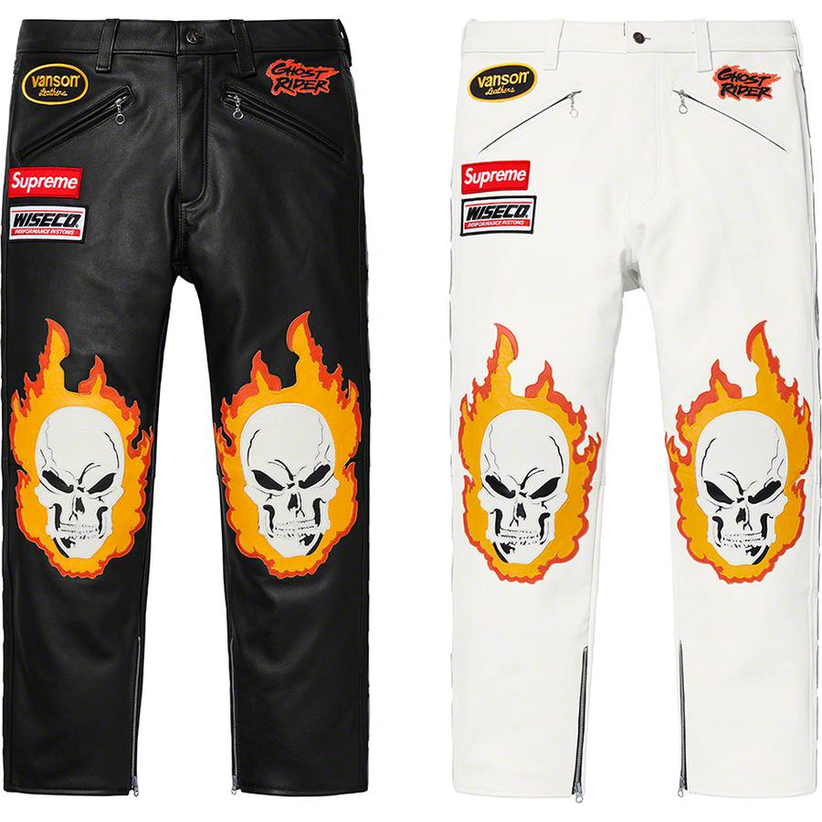 Supreme®/Vanson Leathers® Ghost Rider© Pant - Competition weight cowhide leather with cotton blend lining. Button fly closure with zip hand pockets at front, back zip pockets and ankle zips. Leather cut-out graphics on front and side with logo patches on waist. Made exclusively for Supreme.