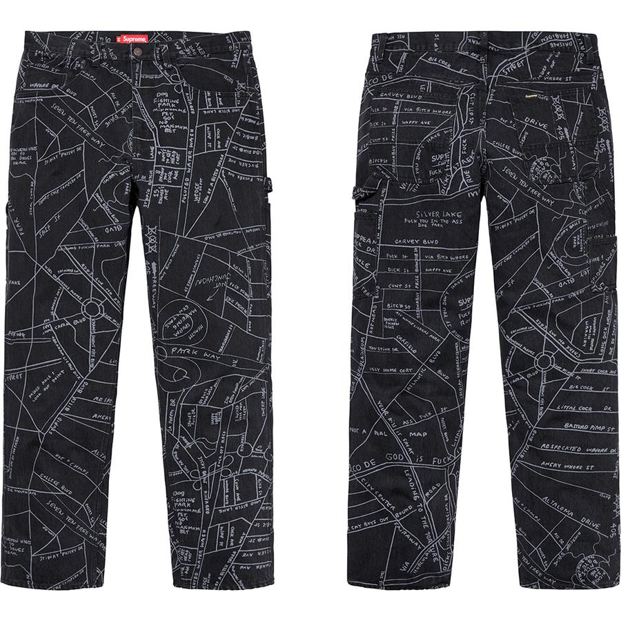 Gonz Map Denim Painter Pant - All cotton 14oz. denim with discharge printed pattern. Utility style with zip fly, single coin pocket, utility pockets and hammer loop at left leg. Original artwork by Mark Gonzales.