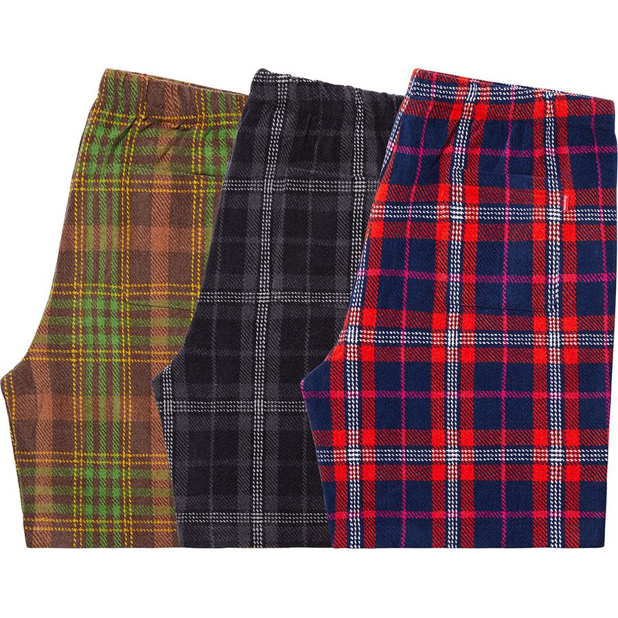 Plaid Velour Short - Cotton blend velour with on seam hand pockets and single back patch pocket. Elastic waistband with interior drawcord and embroidered logo on lower leg.