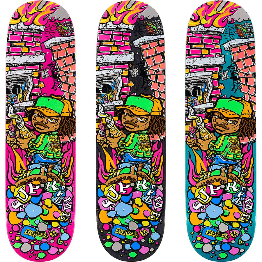 Molotov Kid Skateboard - Supreme skate deck with colored top and bottom plies and red center ply. Printed graphic on bottom with printed World Famous and box logo on top. Original artwork by Andy Howell.