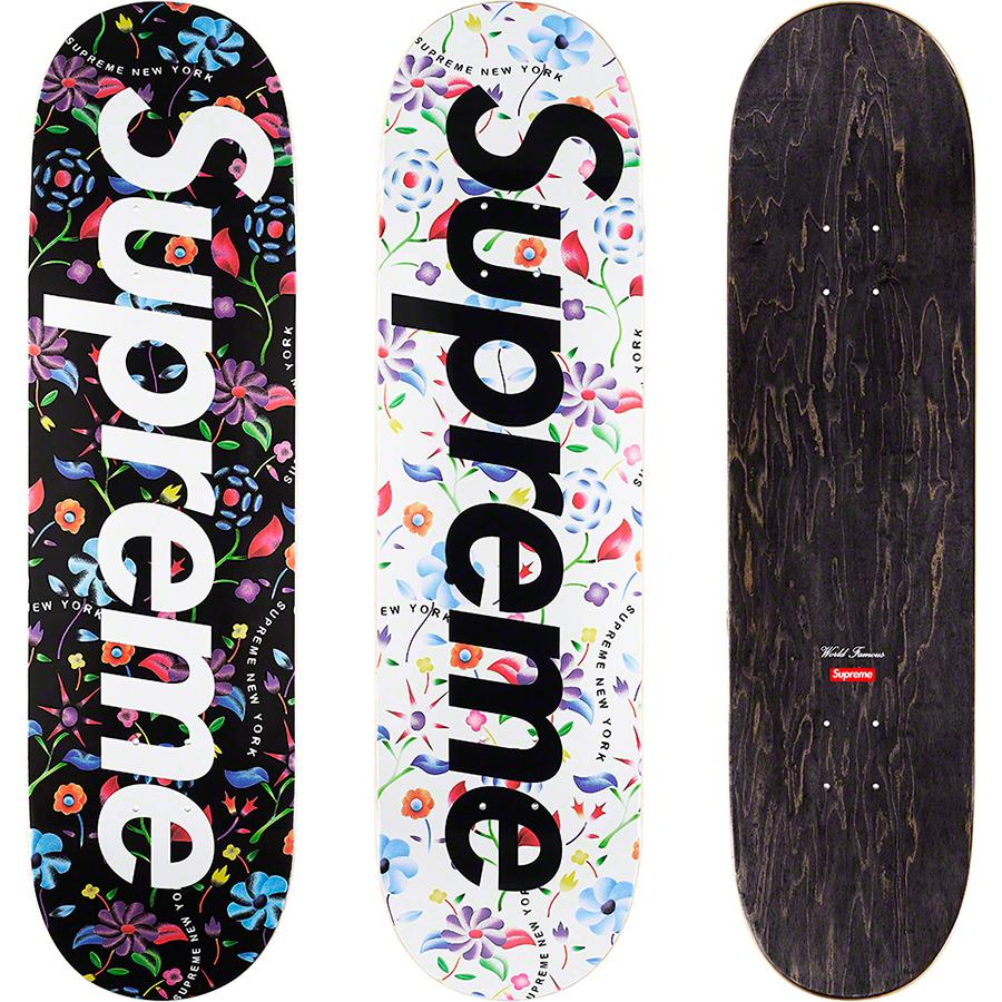 Airbrushed Floral Skateboard - Supreme skate deck with natural veneers and black top ply. Printed graphic on bottom with printed World Famous and box logo on top.