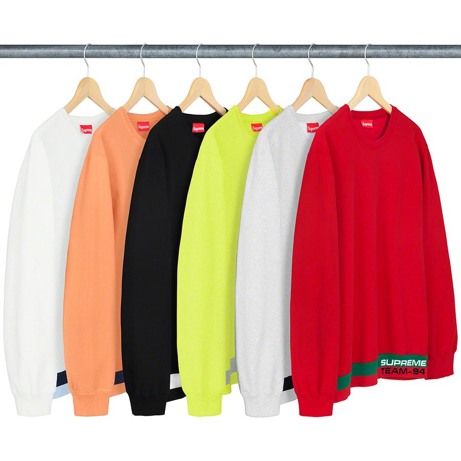 Rib Stripe Crewneck - Cotton fleece with logo rib waistband.