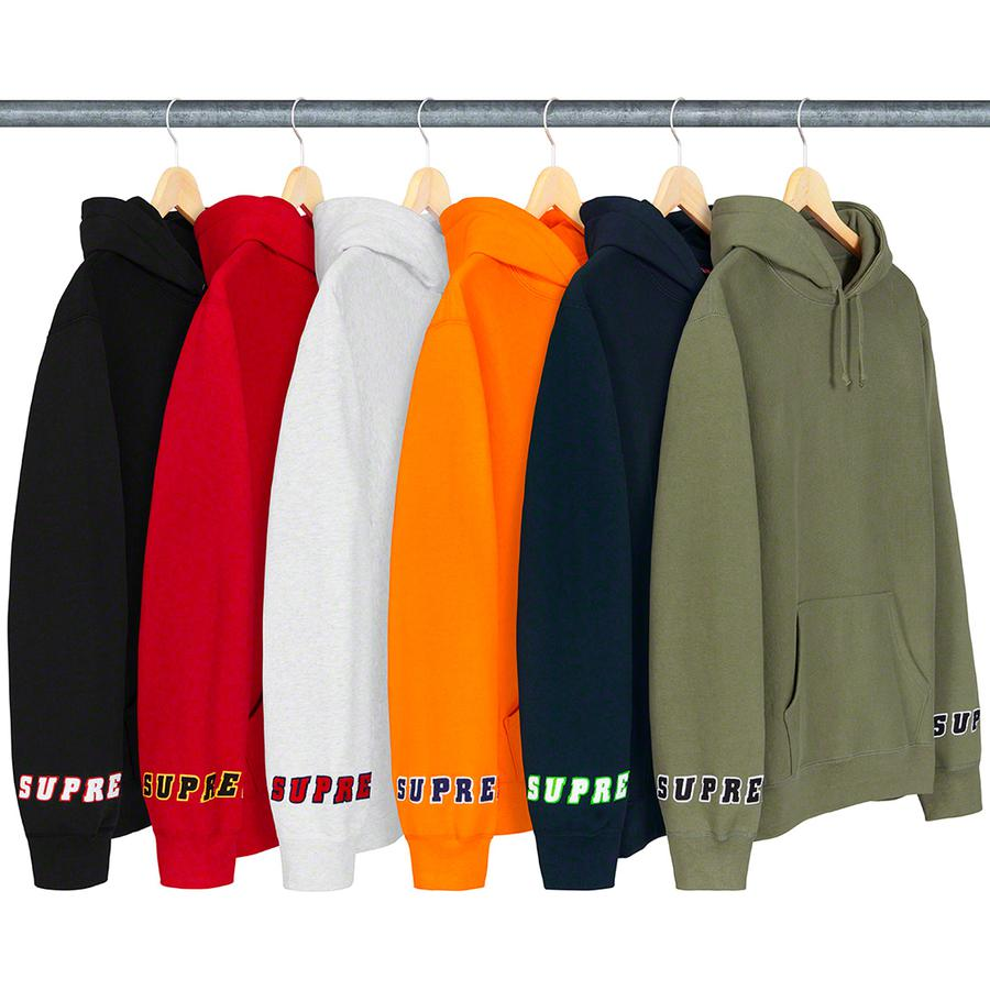 Wrist Logo Hooded Sweatshirt - Cotton fleece with rib gussets, pouch pocket and two-layer felt appliqué logo on wrists.