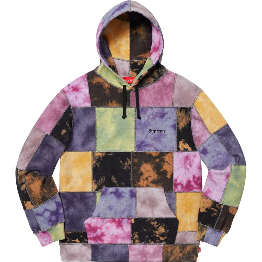 Patchwork Tie Dye Hooded Sweatshirt - Cotton fleece with pouch pocket and embroidered logo on chest.