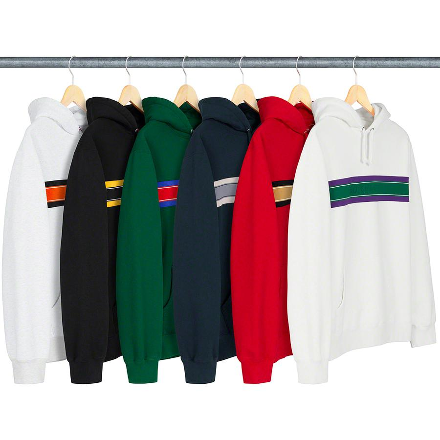 Chest Stripe Logo Hooded Sweatshirt - Cotton fleece with pouch pocket and embossed logo on rib chest panel.
