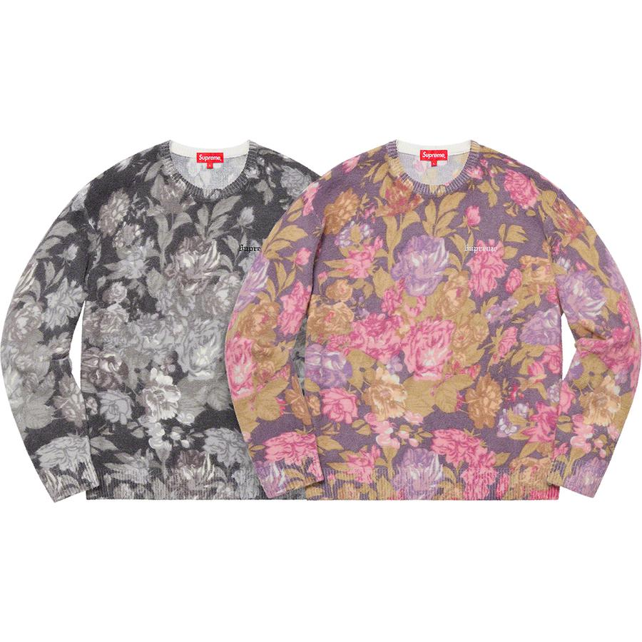 Printed Floral Angora Sweater - Angora blend with printed pattern and embroidered logo on chest.