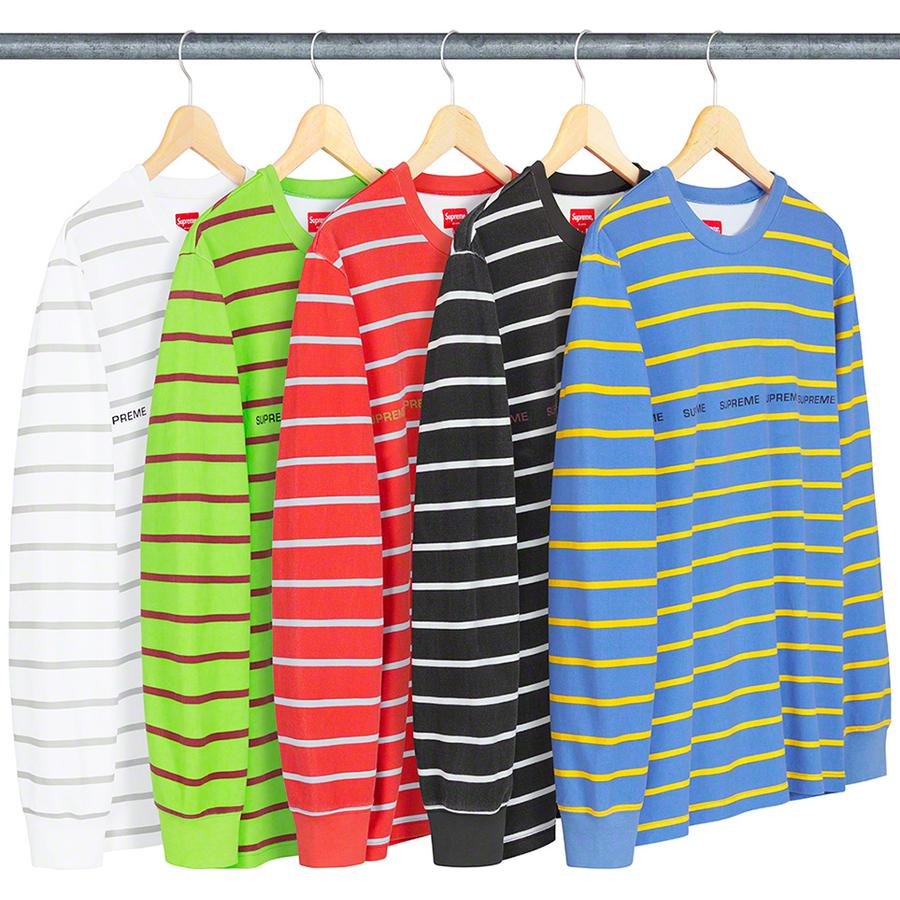 Printed Stripe Pique L/S Top - All cotton pique with printed logos on chest.