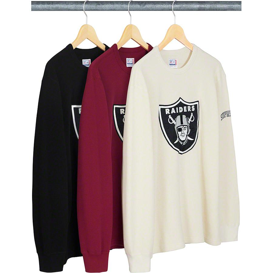 Supreme®/NFL/Raiders/'47 Thermal - All cotton waffle thermal with appliqué logo on chest and embroidered logo on sleeve. Official Raiders merchandise made exclusively for Supreme.
