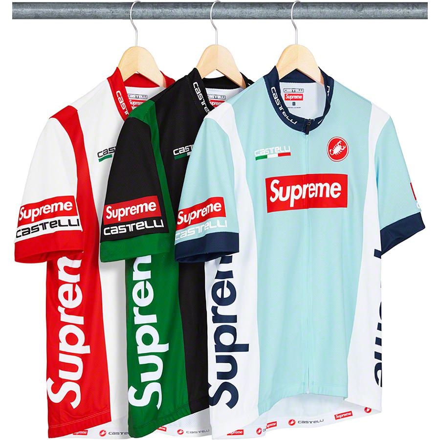 "Supreme®/Castelli Cycling Jersey - Custom relaxed fit breathable poly cycling jersey. Full zip closure with rear pockets and elastic hem. Printed logos on collar, chest, sleeves, sides and back. Made exclusively for Supreme. <span class=""red"">*Please refer to sizing for updated measure..."