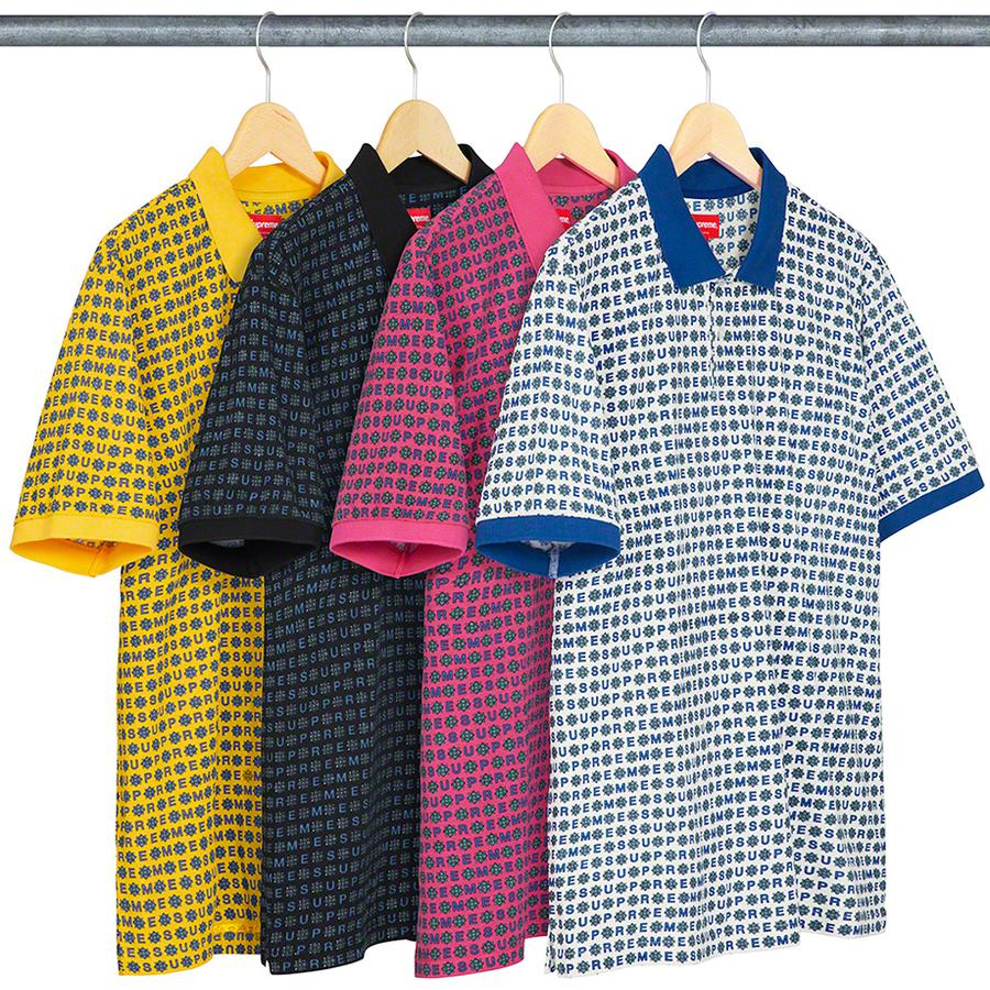 Foulard Polo - All cotton jersey polo with printed logo pattern, two-button placket and knit rib collar.