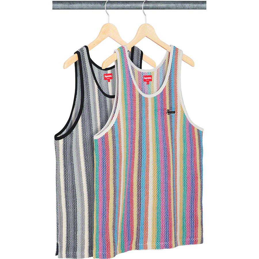 Knit Stripe Tank Top - All cotton with embroidered logo on chest.