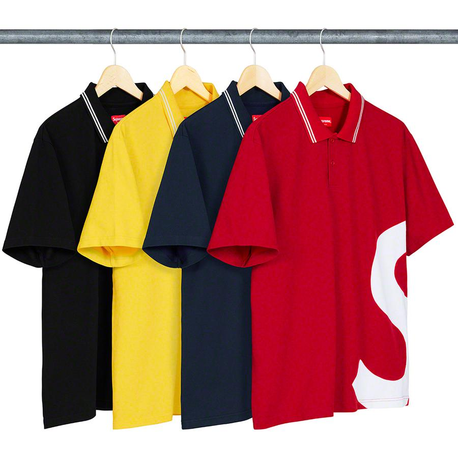 S Logo Polo - All cotton pique polo with two-button placket, stripe rib collar and inset logo panel at side.