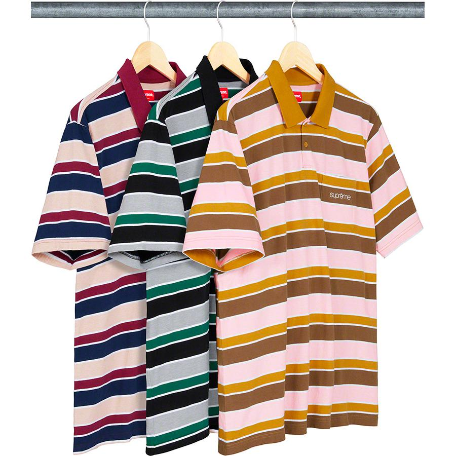 Classic Logo Stripe Polo - All cotton jersey polo with two-button placket, knit rib collar and single chest pocket with embroidered logo.