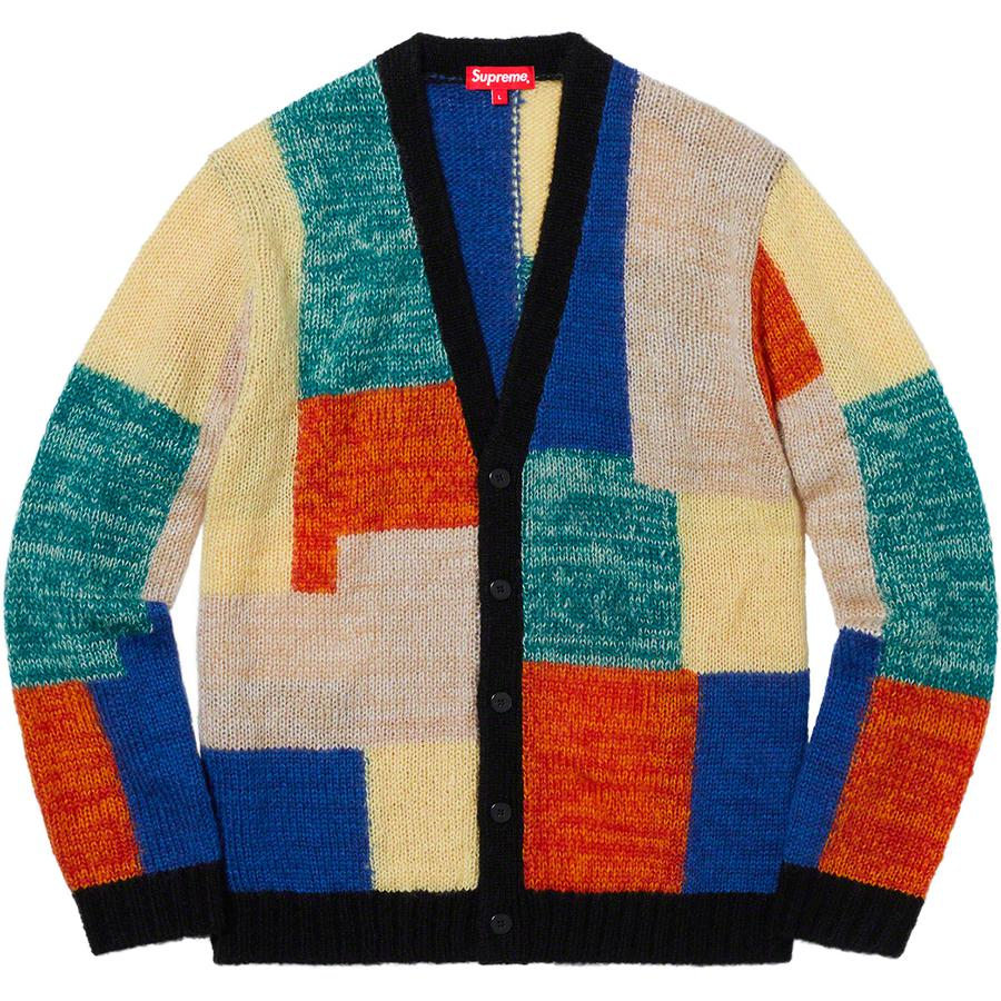 Patchwork Mohair Cardigan - Mohair blend with patchwork pattern and button front closure.