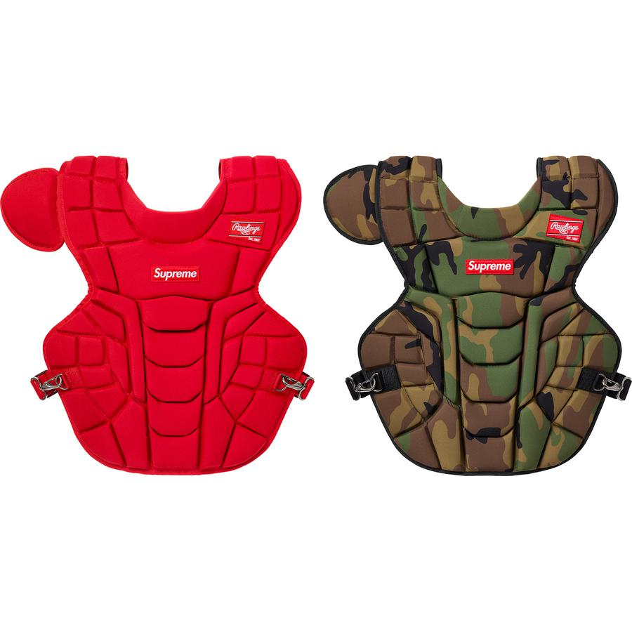 "Supreme®/Rawlings® Catcher's Chest Protector - 17"" chest protector with impact absorbing construction and Dynamic Fit System™ 2.0 adjustable harness. Embroidered logo patches on chest and shoulder. Meets NOCSAE® standard. Made exclusively for Supreme."