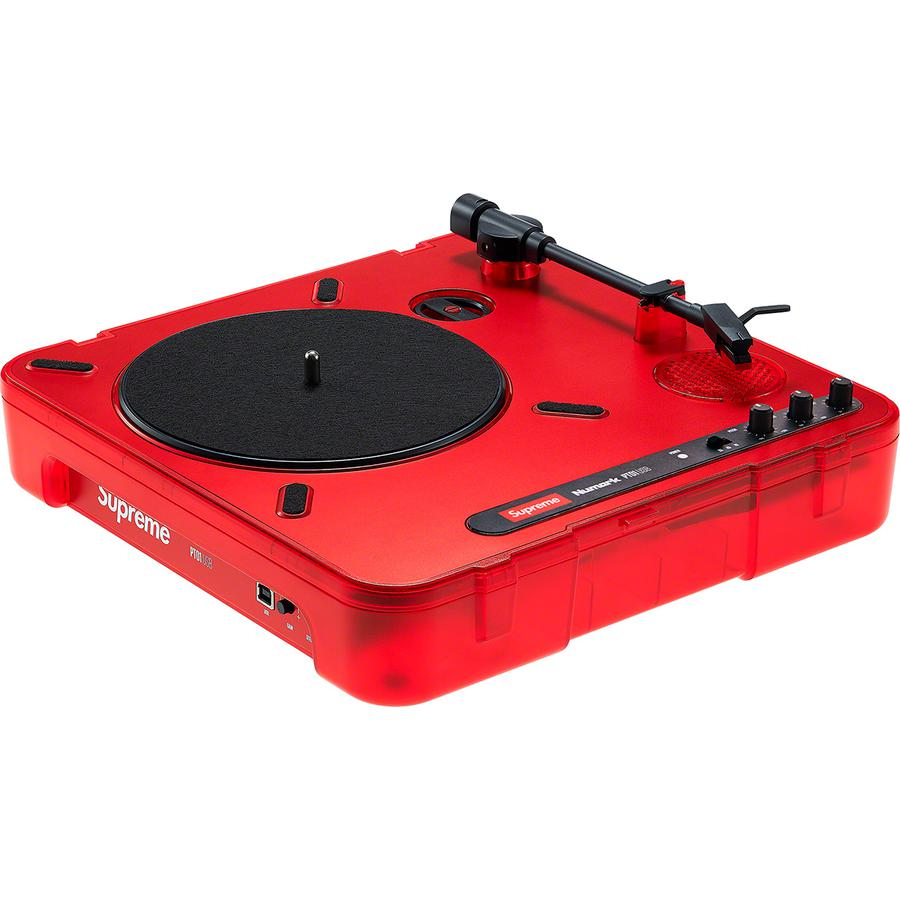 "Supreme®/Numark® PT01 Portable Turntable - Portable turntable with built-in speaker. Printed logos on removable dust cover and interior. 11.9"" x 11.9"" x 4"". Made exclusively for Supreme."