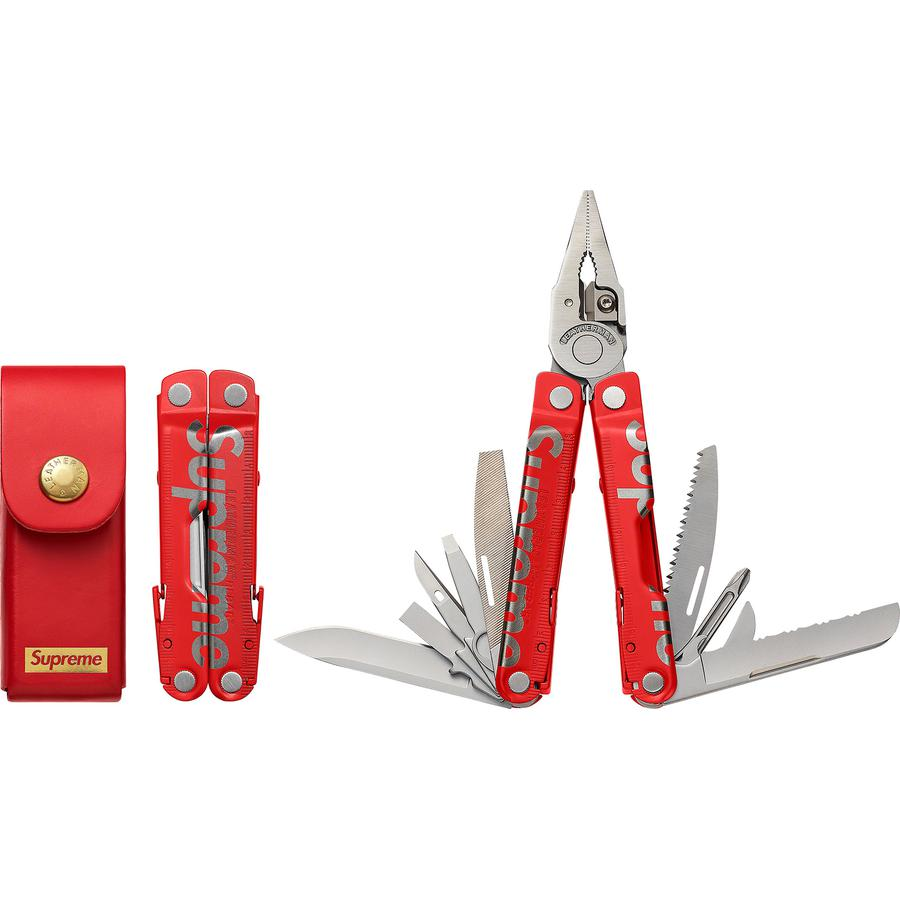"Supreme®/Leatherman® Rebar® - 17-piece stainless steel multi-tool with etched logo. 4"" closed with 2.9"" primary blade. Made exclusively for Supreme."