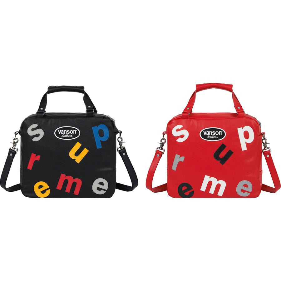 "Supreme®/Vanson Leathers® Letters Bag - Cowhide leather with leather logo appliqué pattern and nylon lining. Main zip compartment with interior pocket. Removable shoulder strap and snap closure at handle. 14.2"" x 12.2"" x 5.1"". 16L. Made exclusively for Supreme."